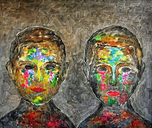 Double Portrait figurative art - oil painting