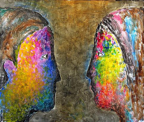 Two Heads figurative art - oil painting