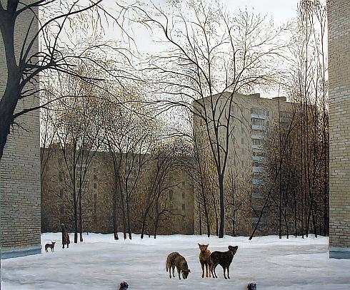 Зима городской пейзаж - масло живопись