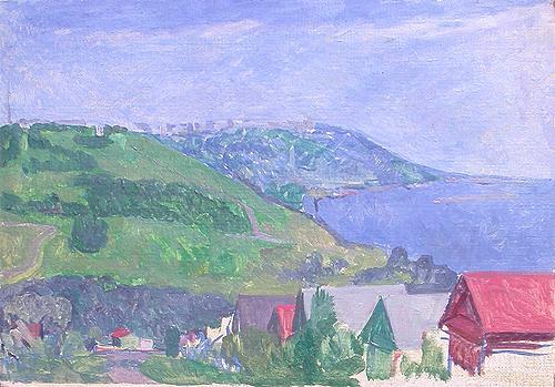 Sketch. The Volga Bank summer landscape - oil painting