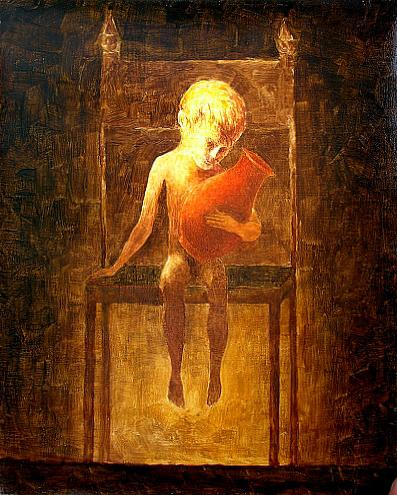 Boy on the Chair portrait or figure - oil painting