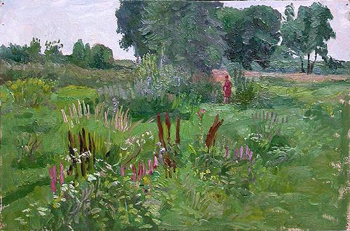Sketch. Flood Land. Water Meadows summer landscape - oil painting