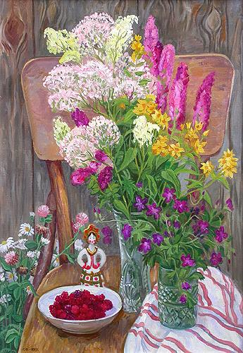 Still Life with Meadow Flowers flower - oil painting