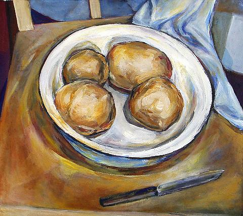 Potatoes still life - tempera painting