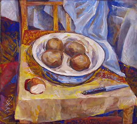 Potatoes #2 still life - tempera painting