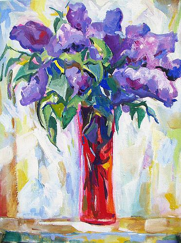 Lilac flower - tempera painting
