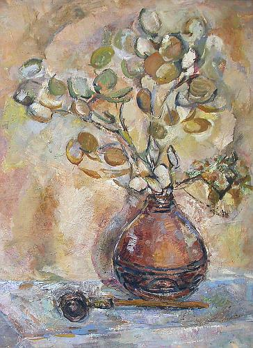 Remembering Summer still life - tempera painting