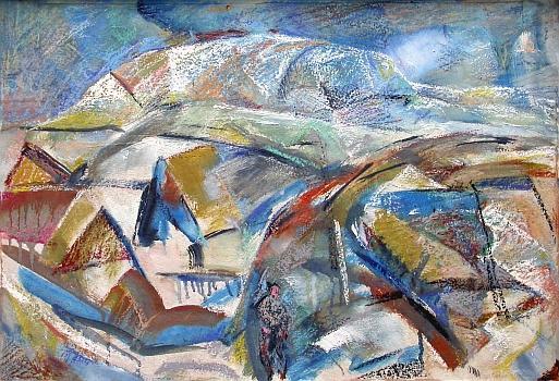 Дорога в гору абстрактный пейзаж - масло, пастель живопись
