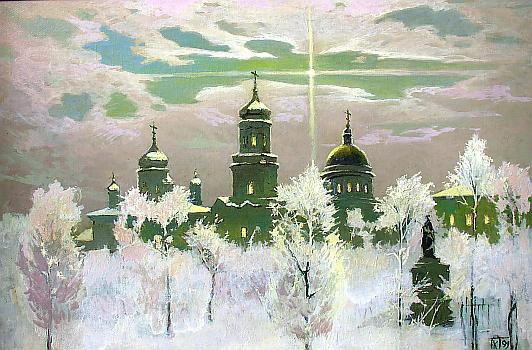 Simbirsk. Churches architecture - oil painting