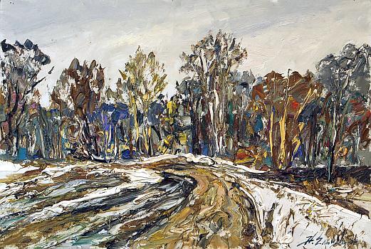 Spring Bad Roads spring landscape - oil painting