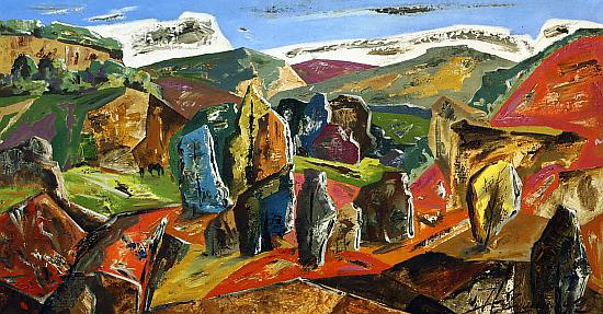Motive in the Zhigulevskiye Mountains abstract landscape - oil painting