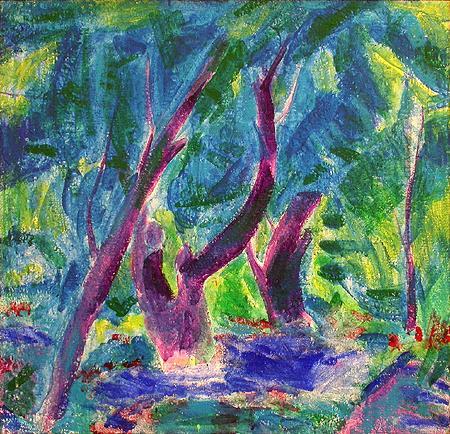 Синий пейзаж абстрактный пейзаж - акрил живопись