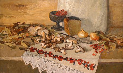 Autumn Still Life with Mushrooms still life - oil painting