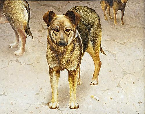 Стая животные - масло живопись