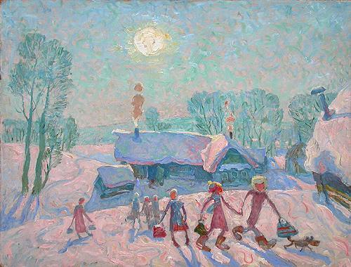 Рождество Христово сюжетная композиция - масло живопись