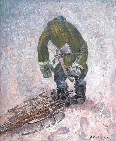 Peasant with Brushwood (Triptych