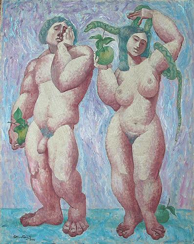 Адам и Ева мифология - масло живопись