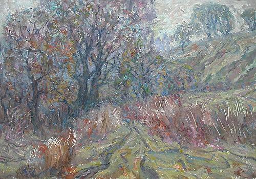 Поздняя осень осенний пейзаж - масло живопись