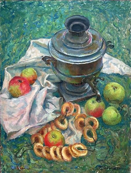 Still Life with Samovar still life - oil painting