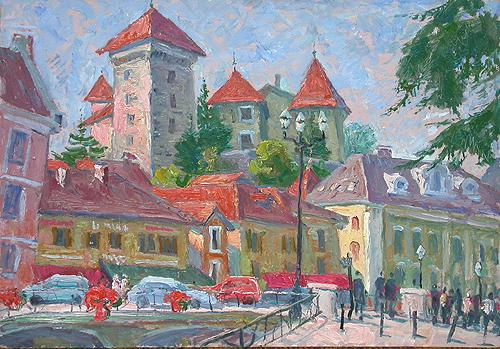 France. Ancie cityscape - oil painting