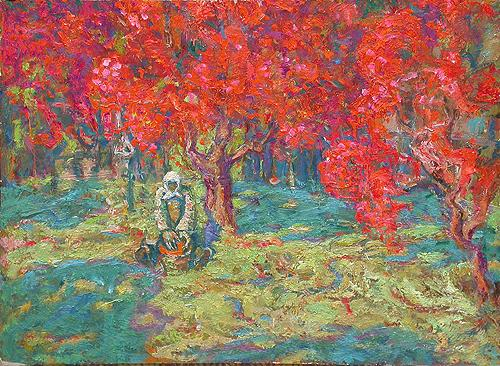 Red Rowan autumn landscape - oil painting