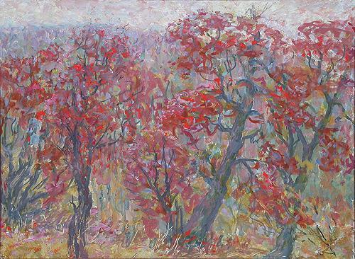 Красные деревья осенний пейзаж - масло живопись