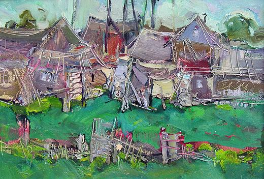 Country Sheds abstract landscape - oil painting