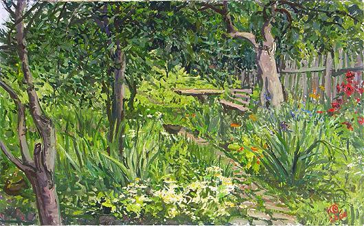 In the Garden vegetation - oil painting