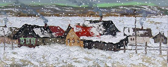 Snowing rural landscape - oil painting