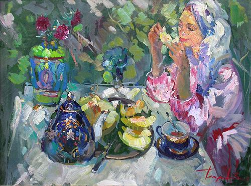 Girl with a Melon genre scene - oil painting