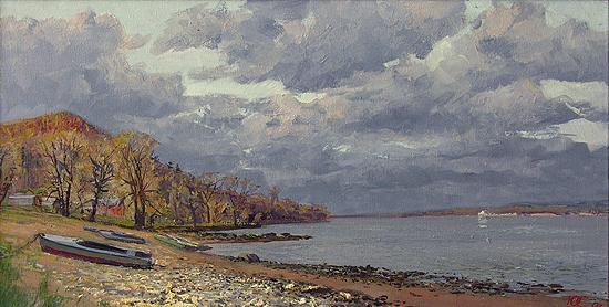 Autumn at the Volga River autumn landscape - oil painting