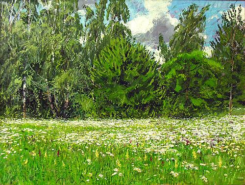 Blossoming Meadow summer landscape - oil painting