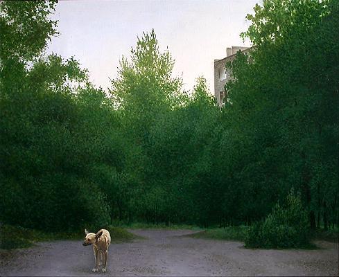 Пейзаж городской пейзаж - масло живопись пейзаж собака одиночество город