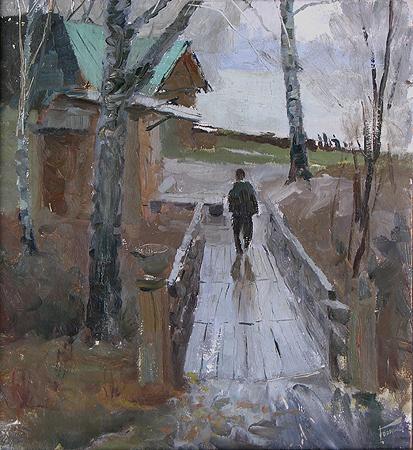 Rain rural landscape - oil painting