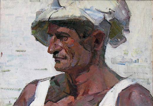 Portrait of a Fisherman portrait or figure - oil painting
