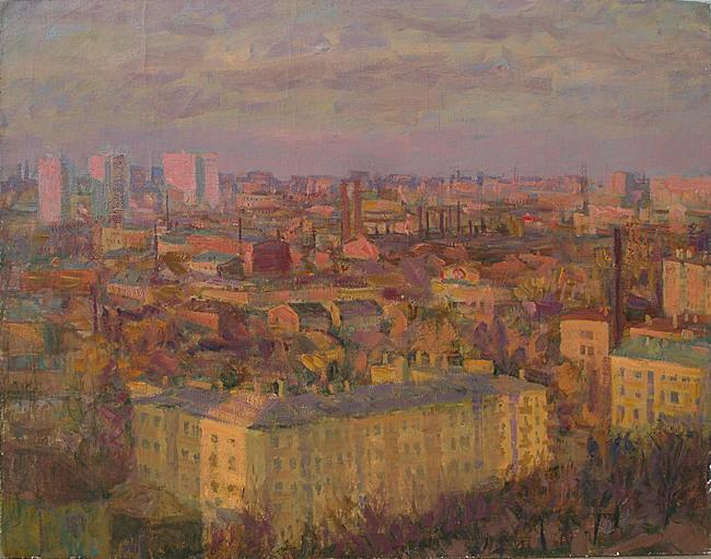 Evening City cityscape - oil painting