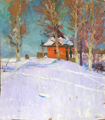 Winter Study rural landscape - oil painting