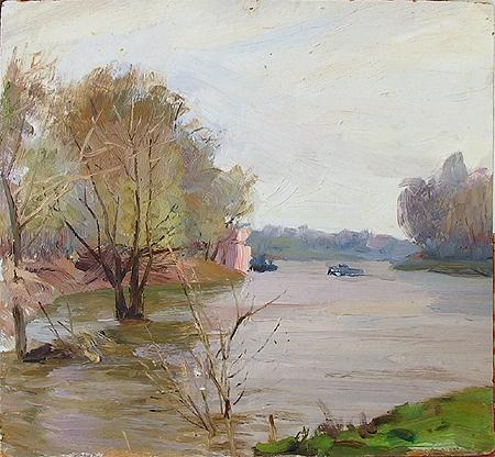 At the Volga River cityscape - oil painting