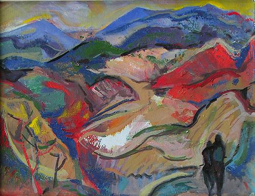 Mountains mountain landscape - oil painting