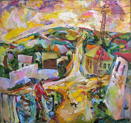 Village rural landscape - oil painting