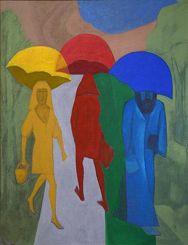 Umbrellas figurative art - acrylic painting