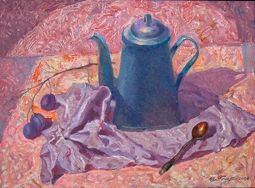 Blue Kettle still life - oil painting