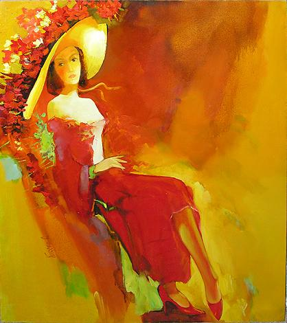 Lady in Sunlight figurative art - oil painting