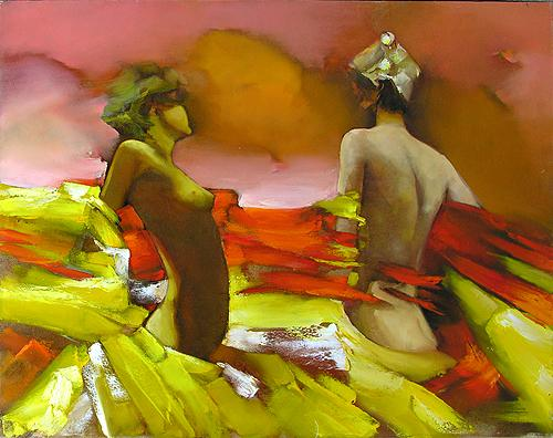 Red Wind figurative art - oil painting