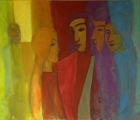 Meeting figurative art - acrylic painting