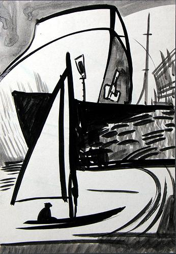 In the Port seascape - ink drawing