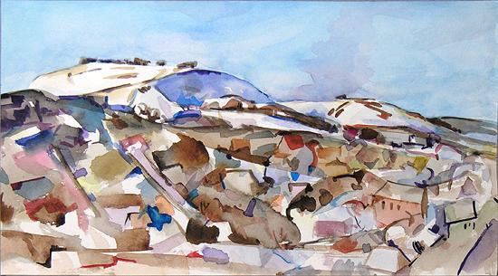 Bald Mountain abstract landscape - watercolor drawing