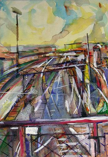 Railroad industrial landscape - watercolor, ink drawing