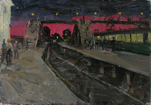 Night Train night landscape - oil painting