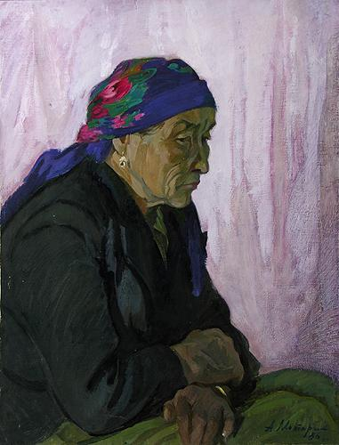 Old Woman portrait or figure - oil painting